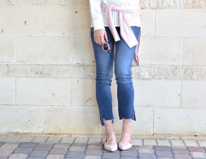 blush pink flats, blush pink sweater