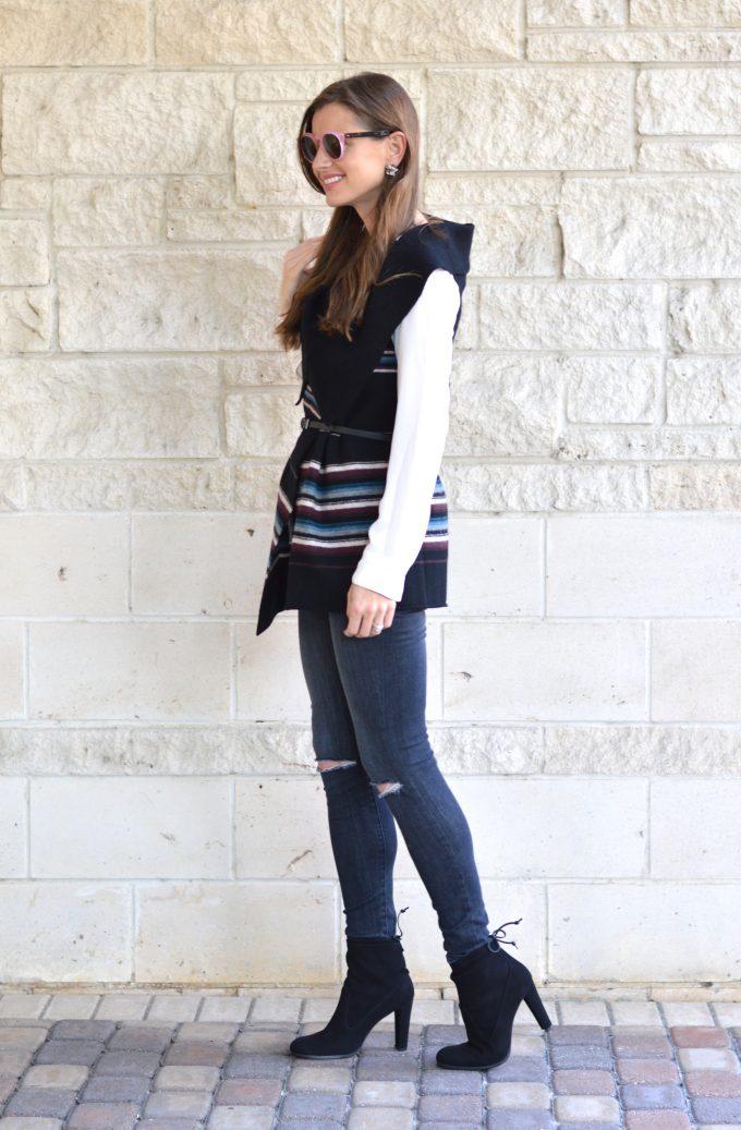 striped blanket vest, washed black distressed jeans