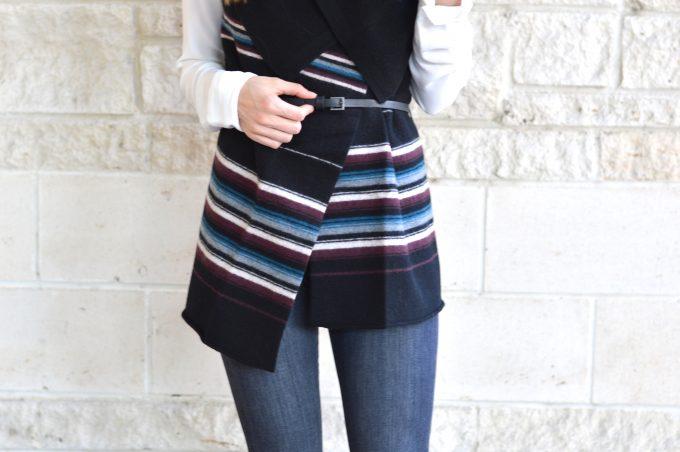 striped blanket vest