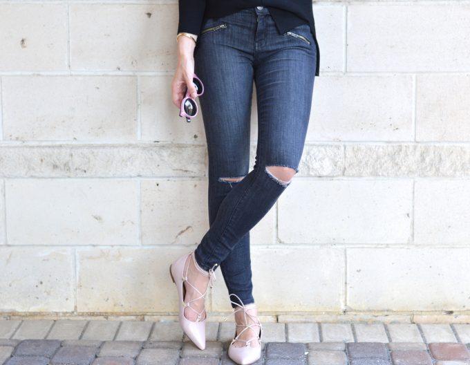distressed black jeans, blush pink flats