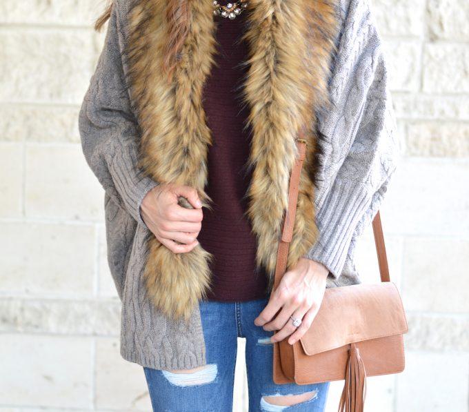 fur collar sweater, saddle crossbody bag