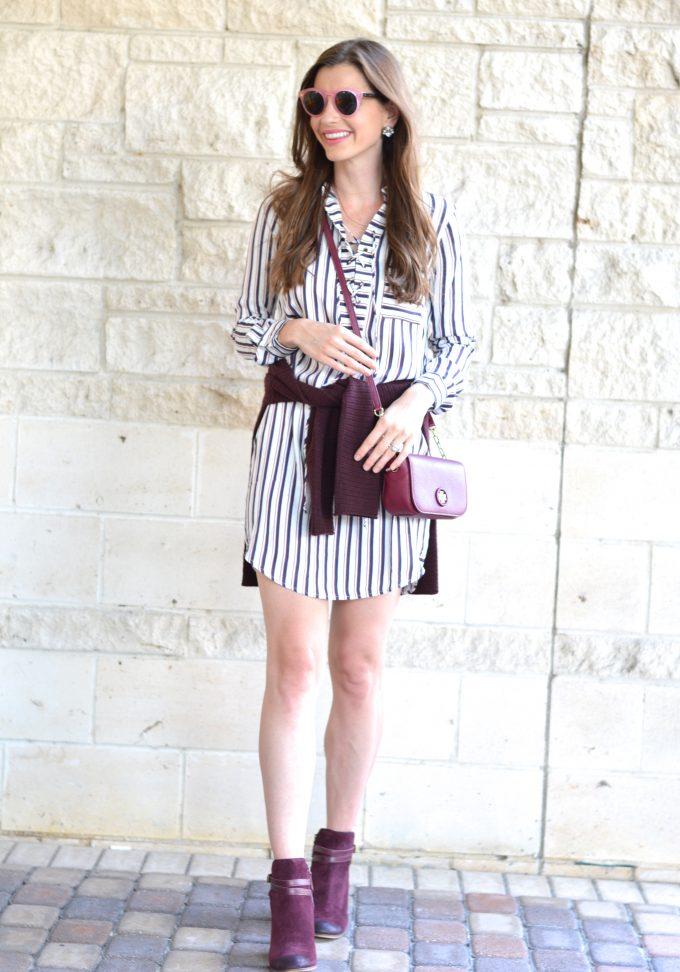 striped lace up dress, oxblood sweater, oxblood cross body bag