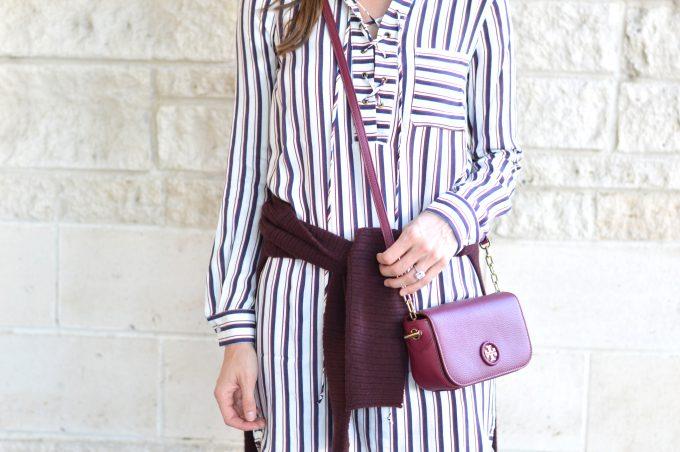 striped lace up dress