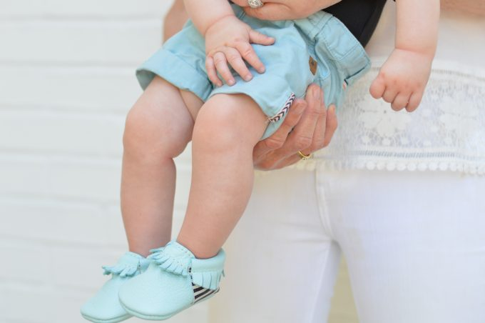 baby boy moccasins ain turquoise blue and matching shorts