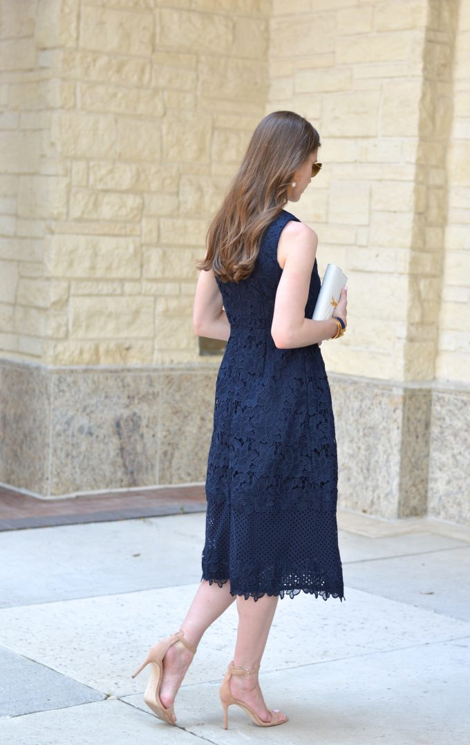 navu midi dress, navy lace dress
