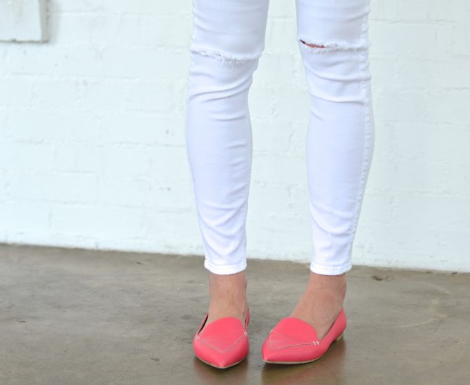 bishop and holland wearing white distressed jeans and hot pink loafers