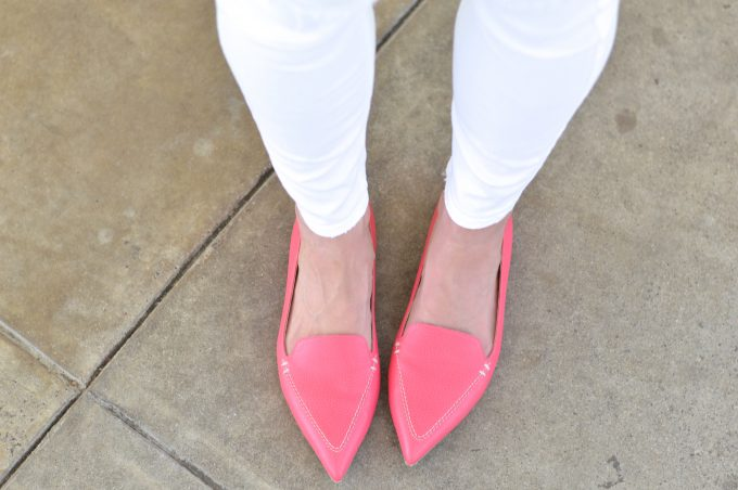 bishop and holland wearing white jeans and hot pink loafers