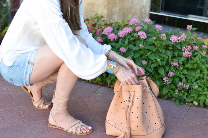 tan bucket bag, ankle wrap suede sandals, hermès