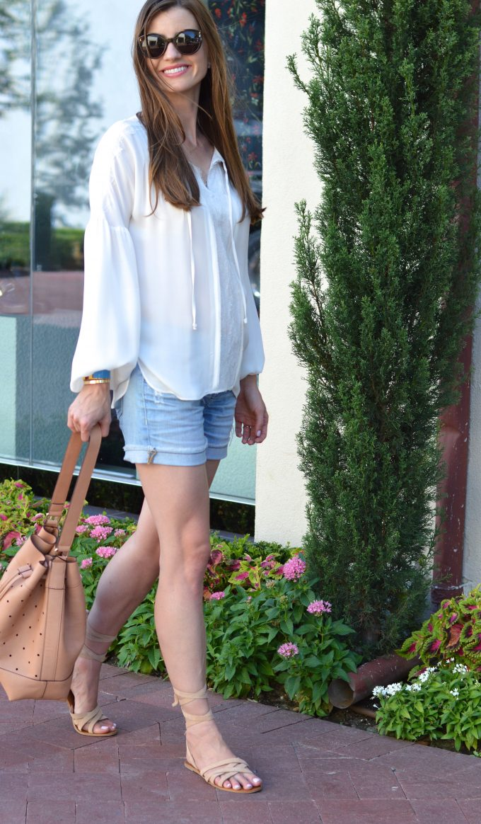 romantic top, flowing sleeves, ankle wrap suede sandals, distressed boyfriend shorts