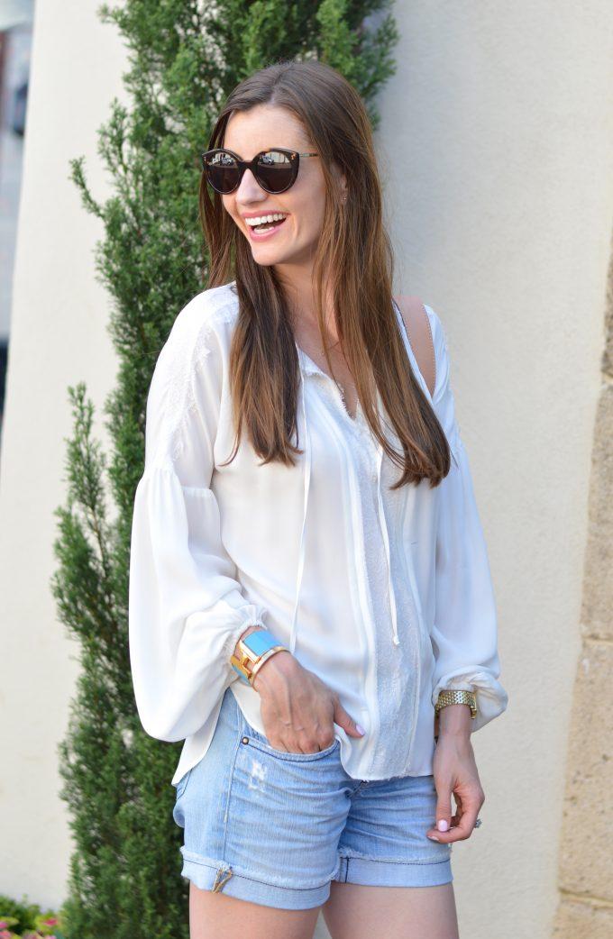 romantic top, blue hermès clic clac bracelet