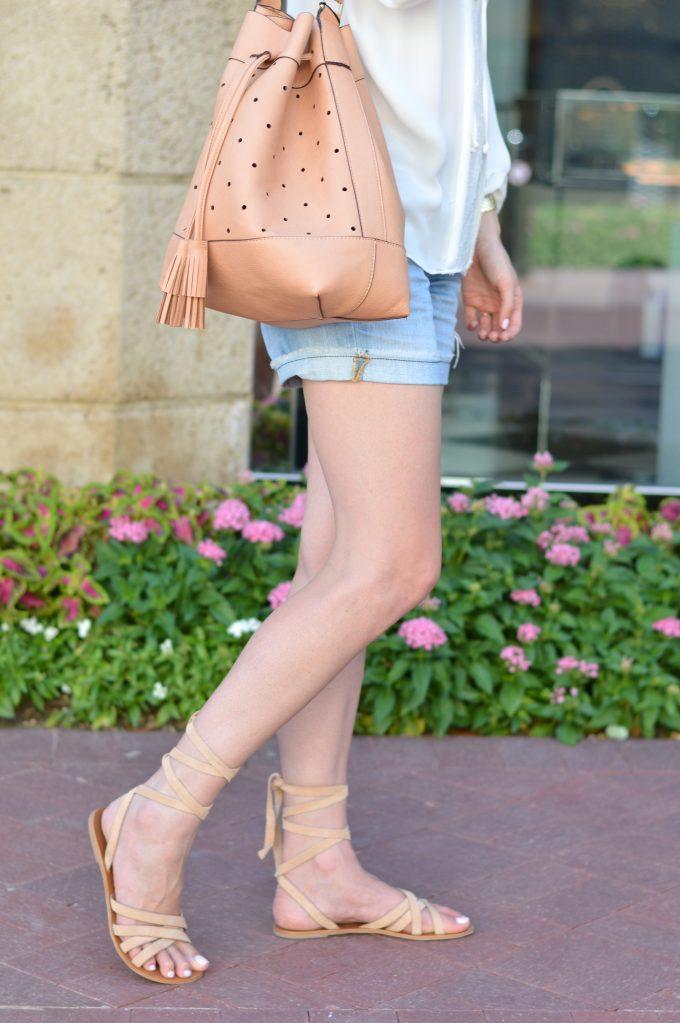 tan bucket bag, ankle wrap sandals