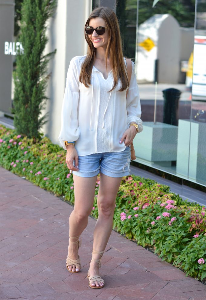 romantic top, distressed jean shorts, ankle wrap sandals