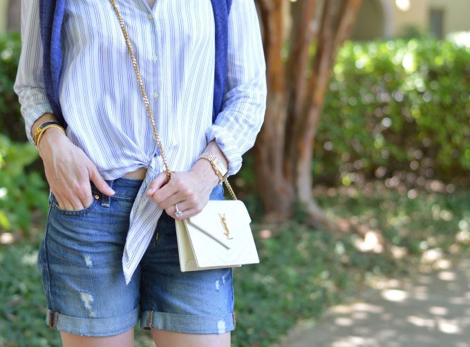 tie at waist boyfriend shirt, white crossbosy bag