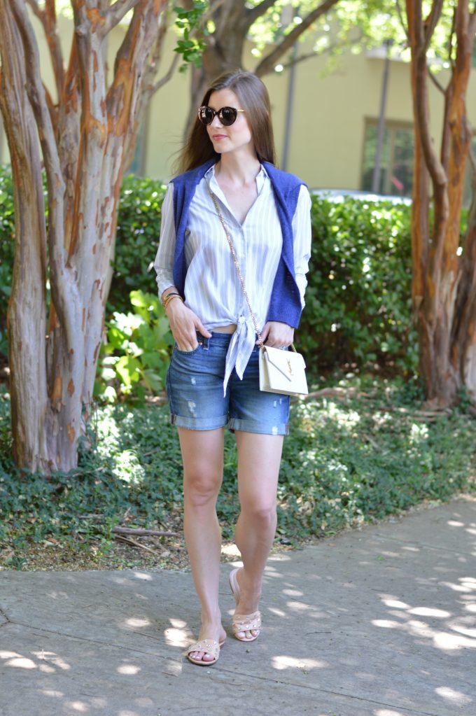 summer slides, white crossbody bag, casual summer style, distressed boyfriend shorts