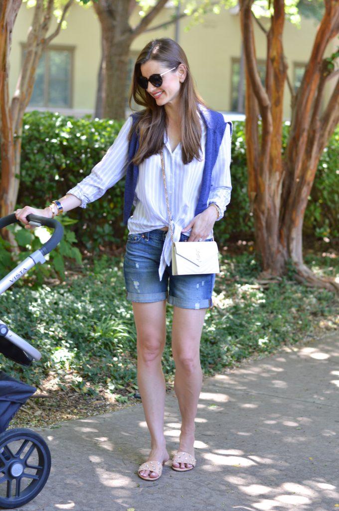 embellished slides, white crossbody bag, distressed boyfriend shorts