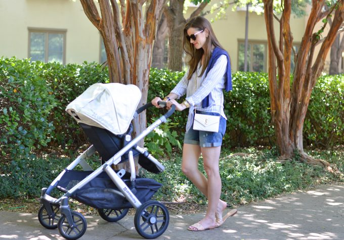 baby stroller, embellished slides, casual mom outfit