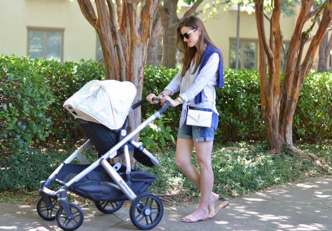baby stroller, embellished slides, casual mom outfit