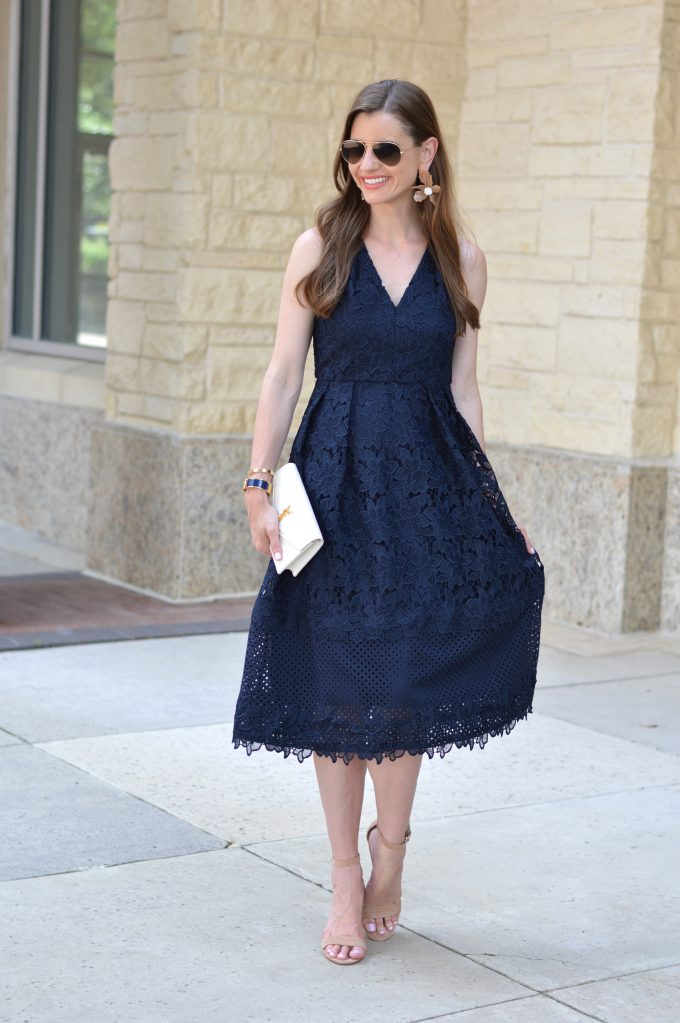 what to wear to a summer wedding, navy blue lace midi dress