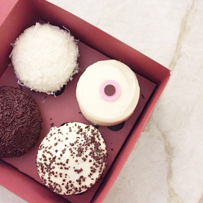 A box of four Sprinkles cupcakes