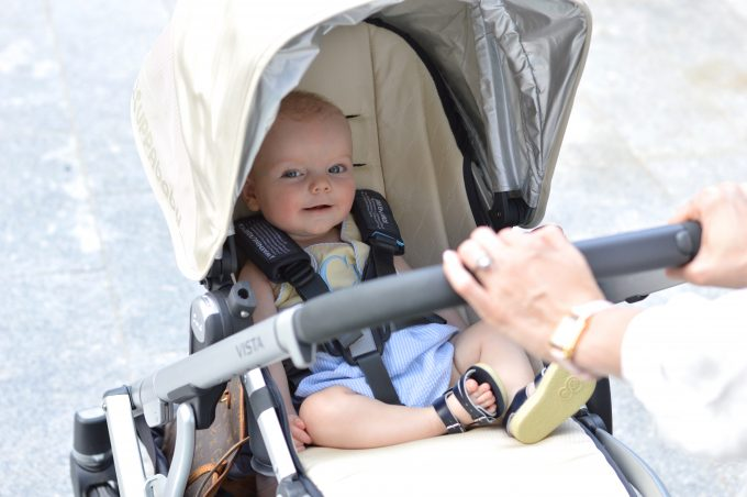 An adorable baby in his stroller!
