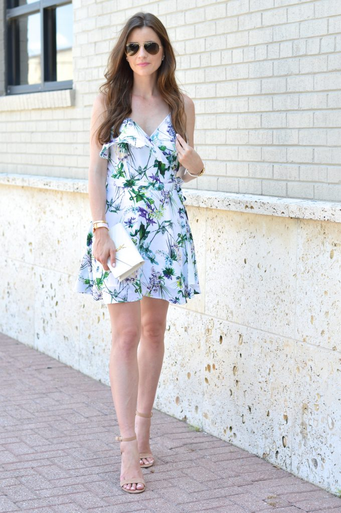 A feminine wrap dress in a crisp floral