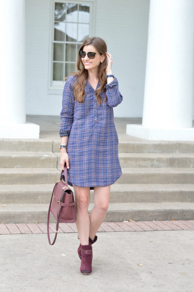 A plaid shirtdress that's great for nursing moms.