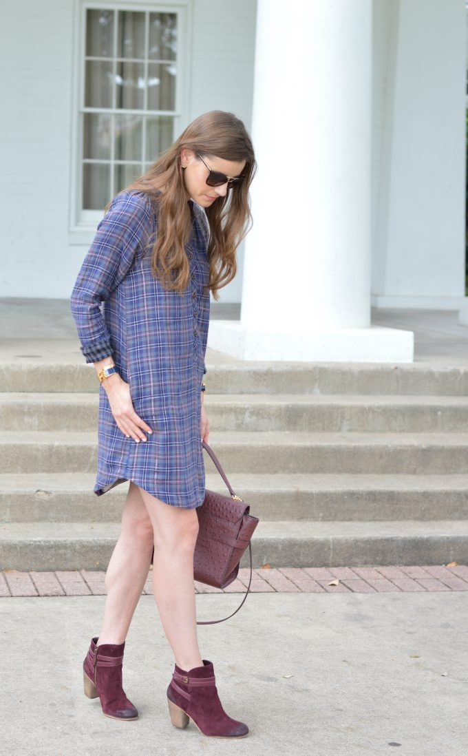 A plaid shirtdress to wear for fall transition with burgundy booties.