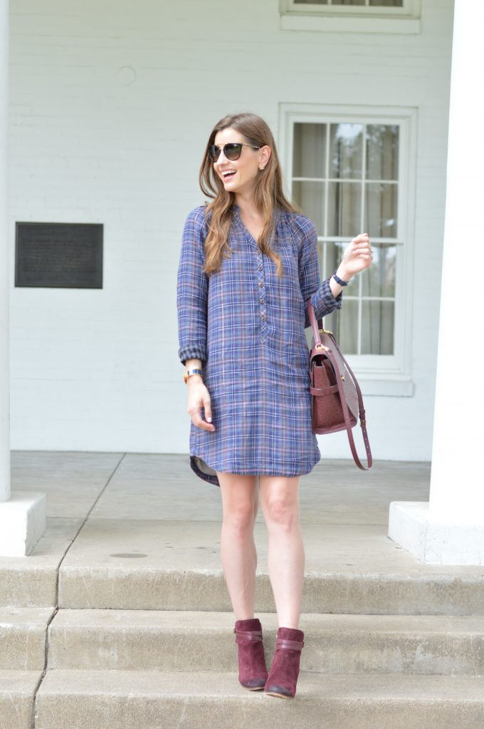 A plaid dress that's perfect for transitioning to fall.