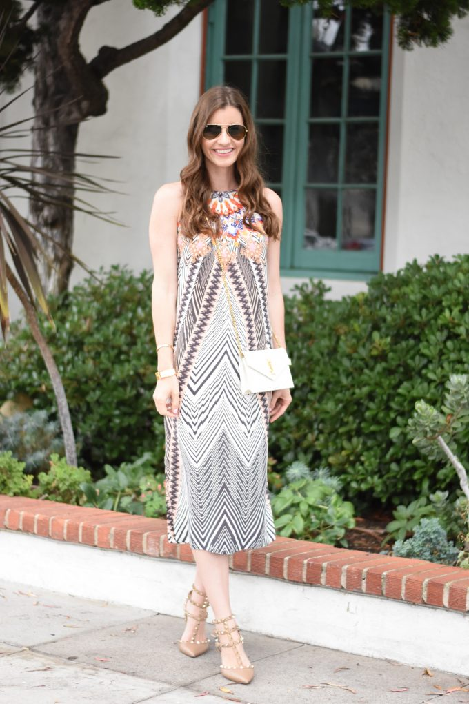 Tribal print midi dress with rockstud kitten heels