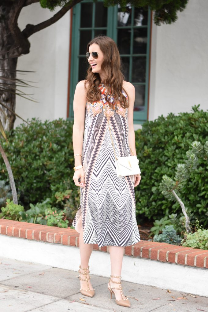 Tribal print midi dress with rockstud kitten heels and a YSL crossbody bag