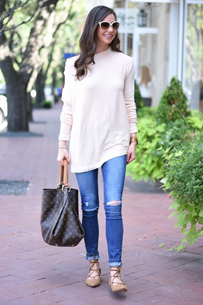 The perfect fall sweater in a soft blush pink color with distressed jeans and lace up flats