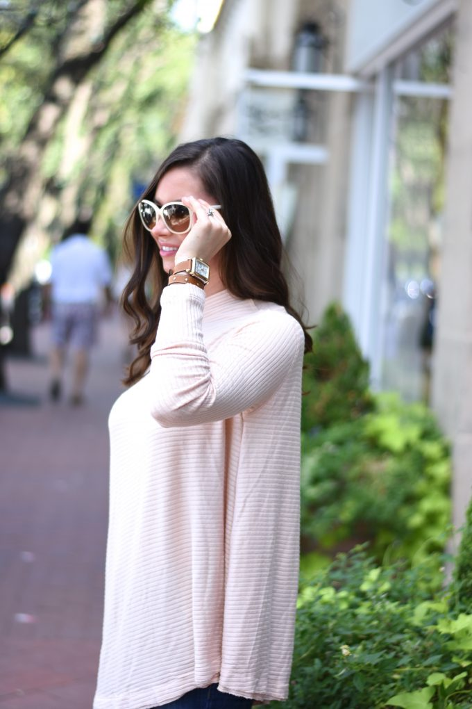 A soft blush pink sweater for fall and off white