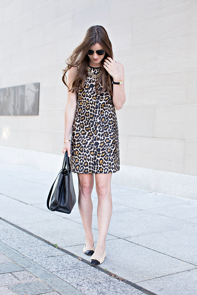 A j. crew leopard print shift dress with two tone cap toe chanel flats and a black tote bag