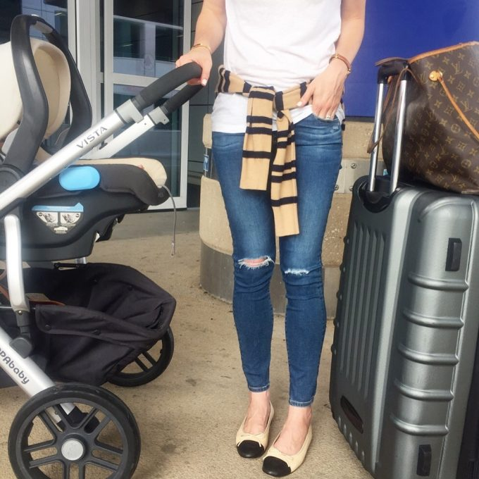 |travel style| shirt|sweater|jeans|flats|stroller|