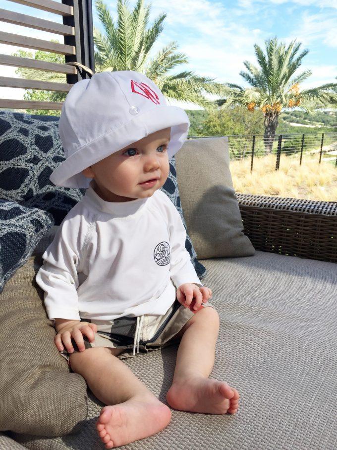 baby burberry swim trunks, baby rash guard, monogrammed baby sun hat