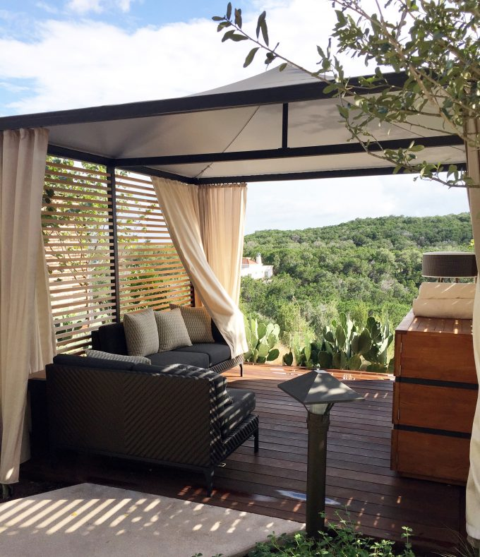 a private outdoor spa cabana overlooking the Texas Hill Country