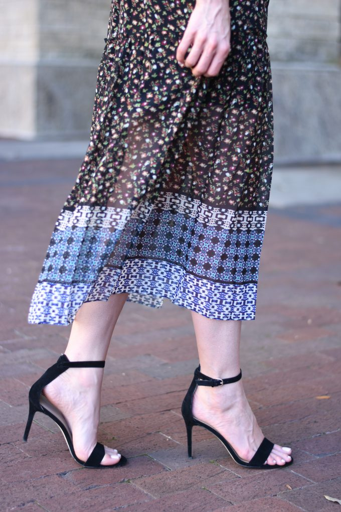 black suede heeled snadals