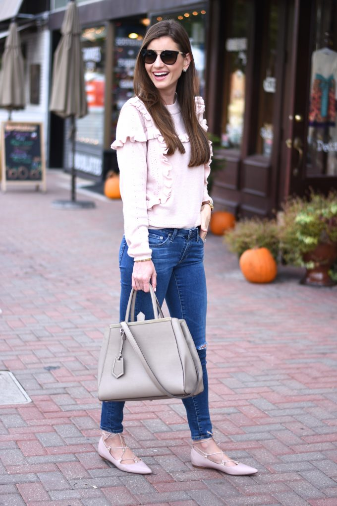 blush pink sweater, blush pink flats, neutral handbag