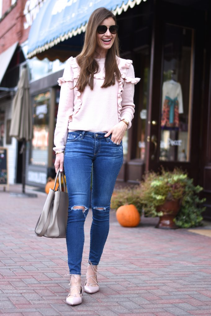 blush pink sweater, blush pink lace up flats