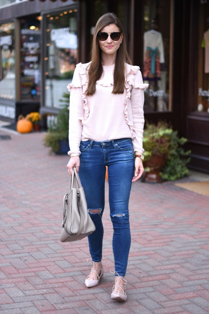 blush pink ruffle sweater, distressed jeans