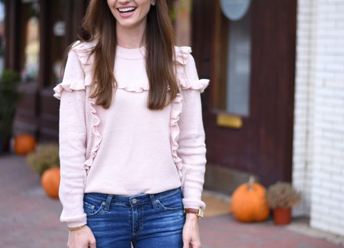 blush pink ruffle sweater