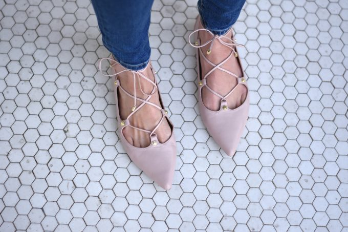 blush pink lace up flats