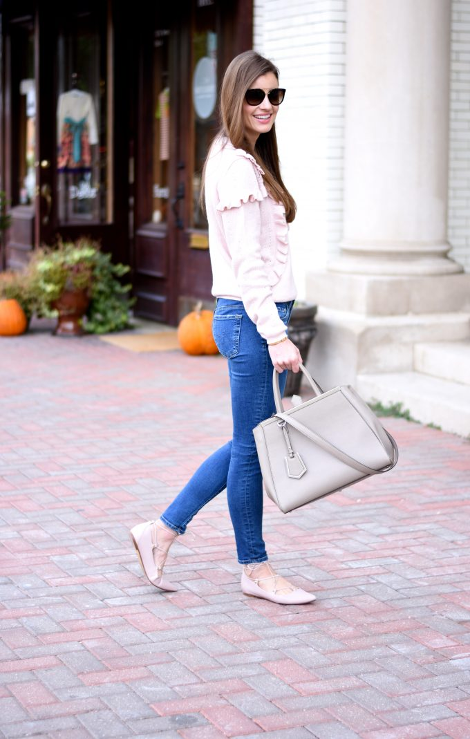 blush pink sweater, jeans, blush pink lace up flats