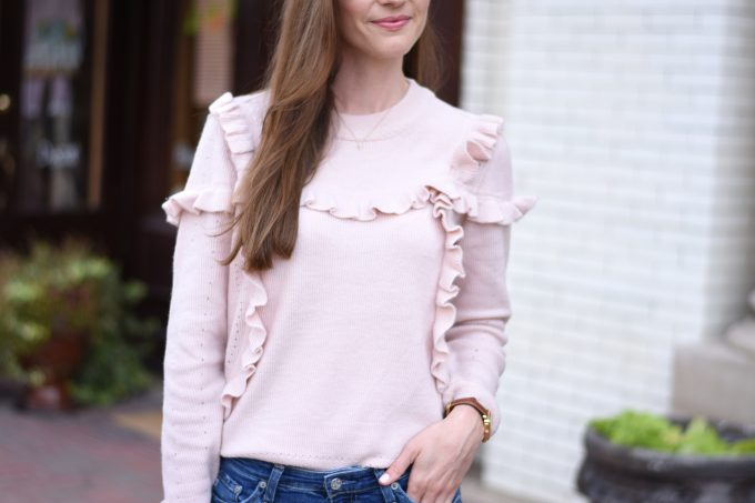 blush pink ruffled sweater