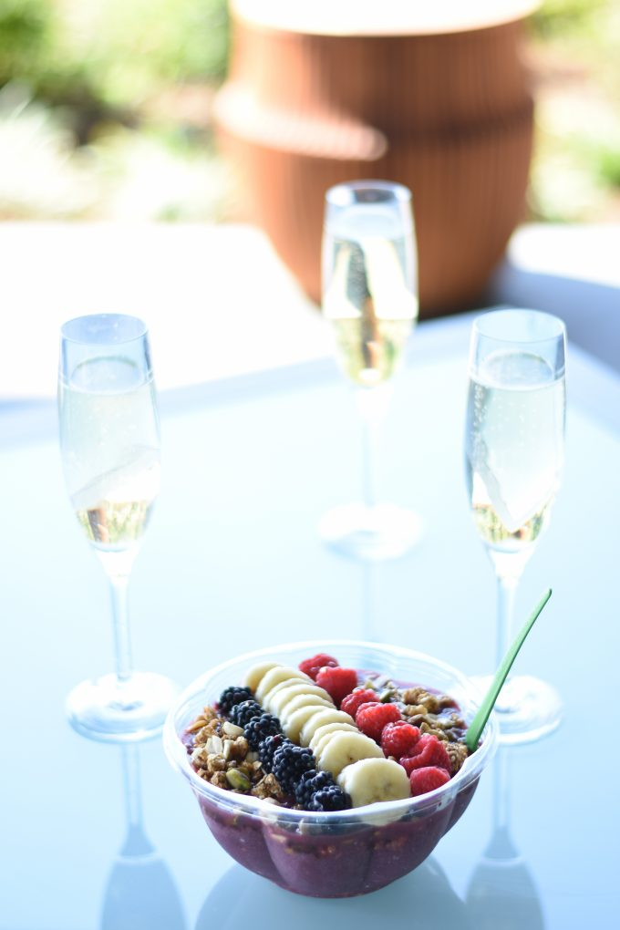 brunch on the patio with champagne