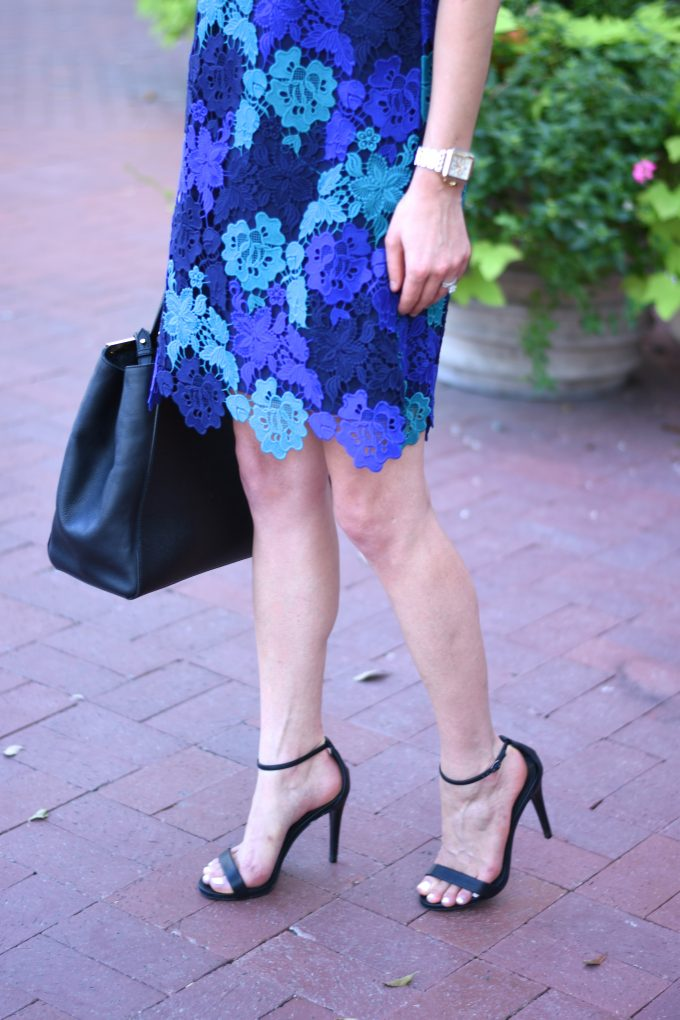 blue lace dress and black ankle strap heels