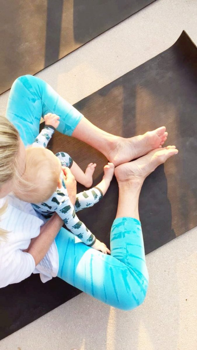 doing yoga with a baby