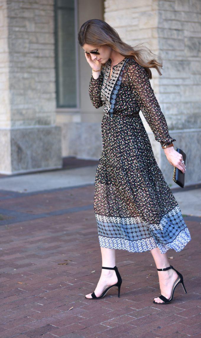midi dress for fall, black heeled sandals