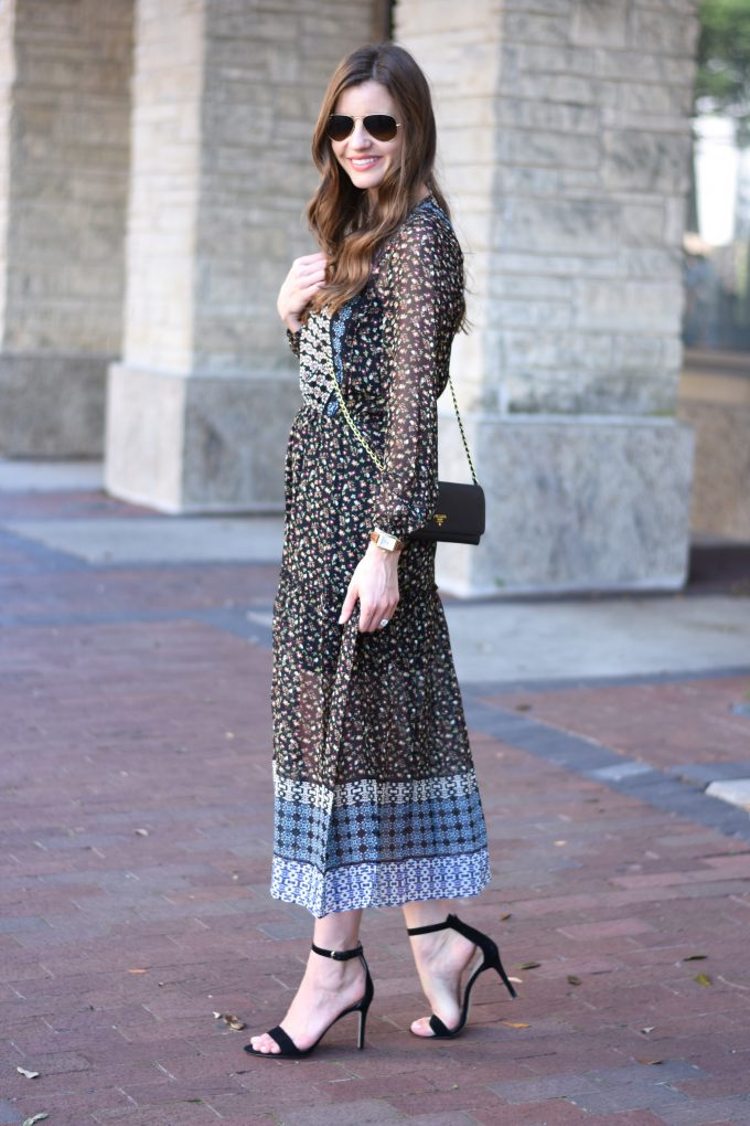 midi dress in fall floral mixed prints