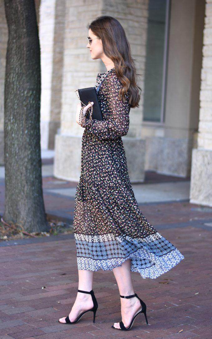 mixed prints midi dress